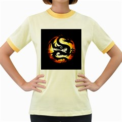 Dragon Fire Monster Creature Women s Fitted Ringer T-Shirts