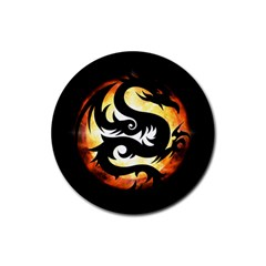 Dragon Fire Monster Creature Rubber Round Coaster (4 pack)