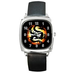 Dragon Fire Monster Creature Square Metal Watch
