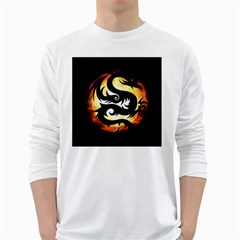Dragon Fire Monster Creature White Long Sleeve T-Shirts