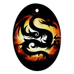 Dragon Fire Monster Creature Oval Ornament (Two Sides)