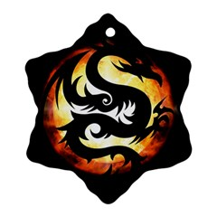Dragon Fire Monster Creature Snowflake Ornament (Two Sides)