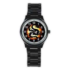 Dragon Fire Monster Creature Stainless Steel Round Watch