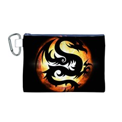 Dragon Fire Monster Creature Canvas Cosmetic Bag (m)