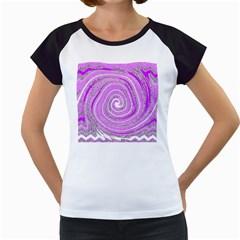 Digital Purple Party Pattern Women s Cap Sleeve T