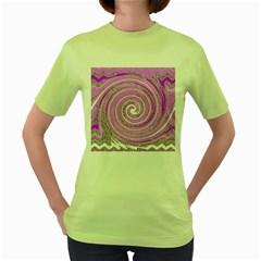 Digital Purple Party Pattern Women s Green T Shirt