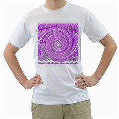Digital Purple Party Pattern Men s T Shirt (white) (two Sided)