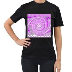 Digital Purple Party Pattern Women s T-Shirt (Black) (Two Sided)