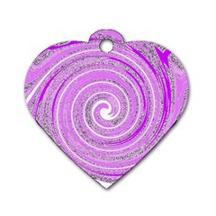 Digital Purple Party Pattern Dog Tag Heart (One Side)