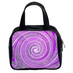 Digital Purple Party Pattern Classic Handbags (2 Sides)