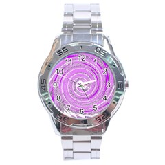Digital Purple Party Pattern Stainless Steel Analogue Watch
