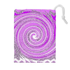 Digital Purple Party Pattern Drawstring Pouches (Extra Large)