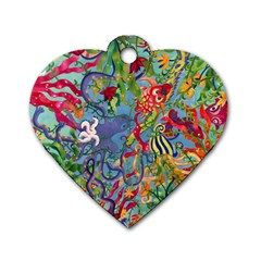 Dubai Abstract Art Dog Tag Heart (Two Sides)