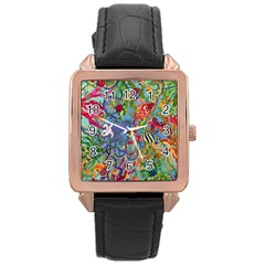 Dubai Abstract Art Rose Gold Leather Watch