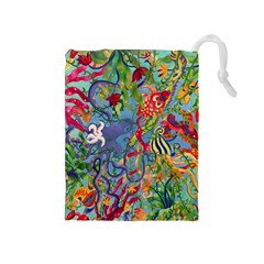 Dubai Abstract Art Drawstring Pouches (medium)