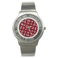 Digital Raspberry Pink Colorful Stainless Steel Watch