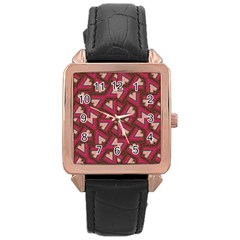 Digital Raspberry Pink Colorful Rose Gold Leather Watch