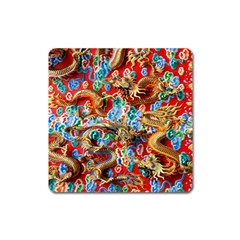 Dragons China Thailand Ornament Square Magnet