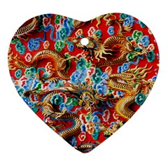 Dragons China Thailand Ornament Heart Ornament (Two Sides)