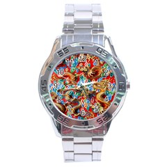 Dragons China Thailand Ornament Stainless Steel Analogue Watch