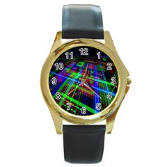 Electronics Board Computer Trace Round Gold Metal Watch