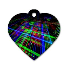 Electronics Board Computer Trace Dog Tag Heart (One Side)