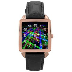 Electronics Board Computer Trace Rose Gold Leather Watch