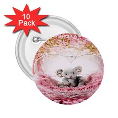 Elephant Heart Plush Vertical Toy 2.25  Buttons (10 pack)