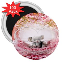 Elephant Heart Plush Vertical Toy 3  Magnets (100 pack)