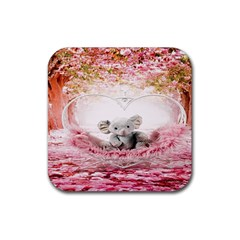 Elephant Heart Plush Vertical Toy Rubber Square Coaster (4 pack)