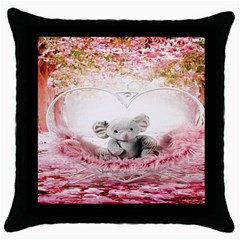 Elephant Heart Plush Vertical Toy Throw Pillow Case (Black)
