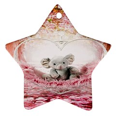 Elephant Heart Plush Vertical Toy Star Ornament (two Sides)