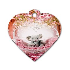 Elephant Heart Plush Vertical Toy Dog Tag Heart (Two Sides)