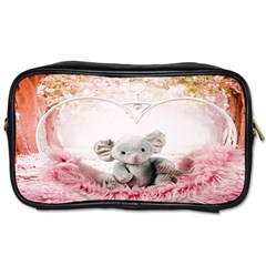Elephant Heart Plush Vertical Toy Toiletries Bags 2-Side