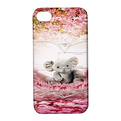 Elephant Heart Plush Vertical Toy Apple Iphone 4/4s Hardshell Case With Stand