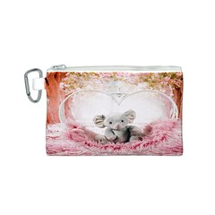 Elephant Heart Plush Vertical Toy Canvas Cosmetic Bag (S)