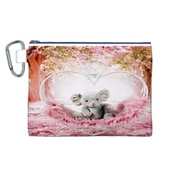 Elephant Heart Plush Vertical Toy Canvas Cosmetic Bag (l)