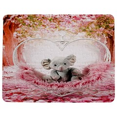 Elephant Heart Plush Vertical Toy Jigsaw Puzzle Photo Stand (Rectangular)