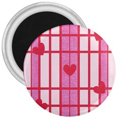 Fabric Magenta Texture Textile Love Hearth 3  Magnets