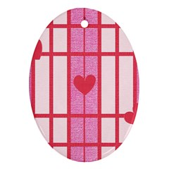 Fabric Magenta Texture Textile Love Hearth Ornament (Oval)