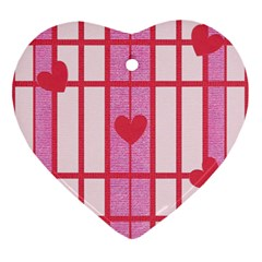 Fabric Magenta Texture Textile Love Hearth Ornament (Heart)