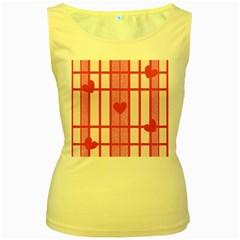 Fabric Magenta Texture Textile Love Hearth Women s Yellow Tank Top