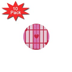 Fabric Magenta Texture Textile Love Hearth 1  Mini Buttons (10 Pack)