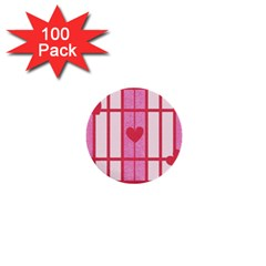 Fabric Magenta Texture Textile Love Hearth 1  Mini Buttons (100 pack)