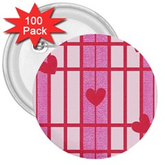 Fabric Magenta Texture Textile Love Hearth 3  Buttons (100 Pack)