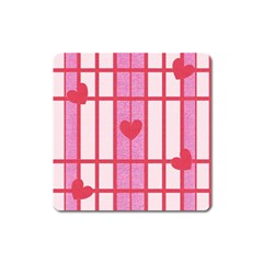 Fabric Magenta Texture Textile Love Hearth Square Magnet