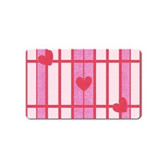 Fabric Magenta Texture Textile Love Hearth Magnet (Name Card)