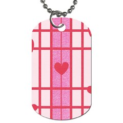 Fabric Magenta Texture Textile Love Hearth Dog Tag (Two Sides)