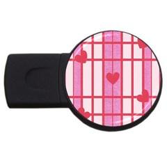 Fabric Magenta Texture Textile Love Hearth USB Flash Drive Round (1 GB)