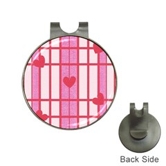 Fabric Magenta Texture Textile Love Hearth Hat Clips With Golf Markers